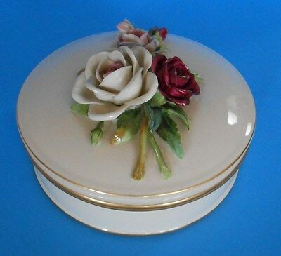 Antique Porcelain Powder Trinket Box Von Schierholz Dresden Roses Germany