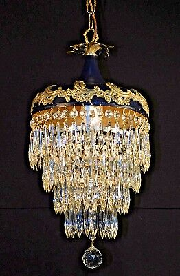 ANTIQUE Royal Blue French Empire Brass Crystal Wedding Cake Chandelier