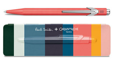 Caran d'Ache 849 PAUL SMITH Coral Pink Ballpoint Pen 849.082, with holder