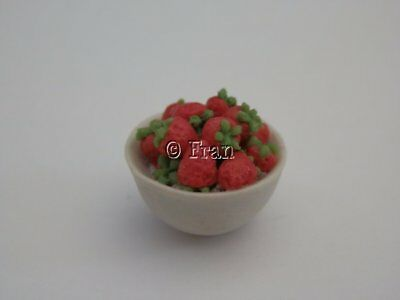 Dolls house food: Bowl of freshly picked strawberries  -By Fran