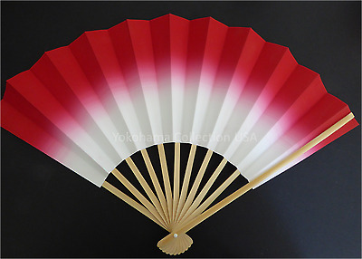 "Japanese Geisha ""Odori"" Dance Hand Held Red SENSU Fan/Without Weight/Made Japan"