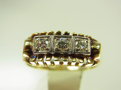 Schöner Art - Deco Diamant Ring 585 GG & WG 3 Diamanten ca 0,18 Carat um 1930