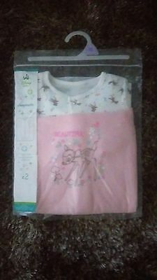 "DISNEY'S ""BAMBI"" PK OF 2 SLEEPSUITS. NEW IN PACKET. 0-3, 3-6, 6-9, 9-12m"