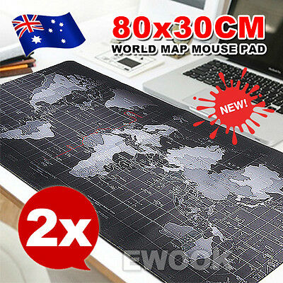 2X 80x 30cm Large World Map Mousepad Game Laptop Computer Mouse Keyboard Pad Mat