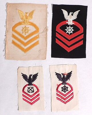 P284. Vintage Lot of 4: WWII US NAVY PATCHES Boatswain's Mate & Quartermaster