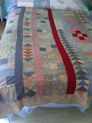 "EARLY Antique Patch work QUILT TOP 76 ""x 68"" nine patch flying geese feedsack"