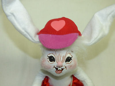 "Vintage Annalee Valentine Doll Figurine 7"" Bunny Rabbit Red Cap Hat w/ Heart"