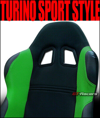 2 Universal Ts Blk/green Cloth Leather Reclinable Racing Bucket Seats+Slider G11