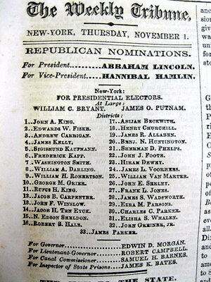 1860 pre Civil War newspaper with AD - Republican ABRAHAM LINCOLN for PRESIDENT
