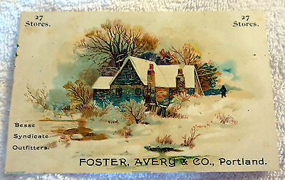 c1890 Foster, Avery & Co. Clothing Store in Portland, Maine Trade Card