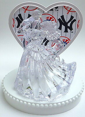 Wedding Cake Topper NY New York Yankees Themed Clear Couple Dancing w/Garter Fun