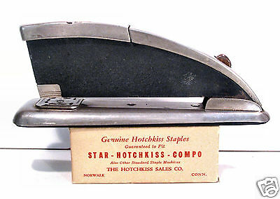 vtg STAR Hotchkiss Zephyr STAPLER Streamline Machine Age-defect+box staples