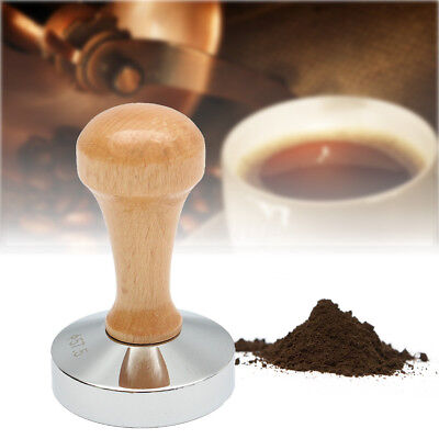 Wooden Handle Stainless Steel Espresso Coffee Tamper Press Tool 57.5mm Flat Base