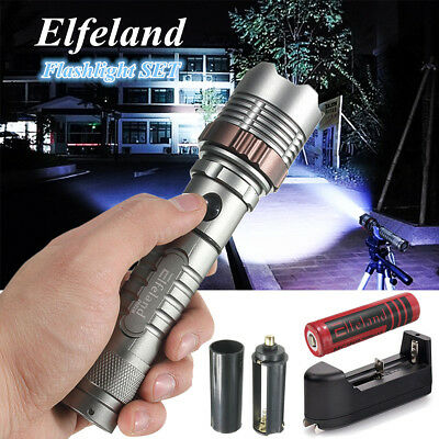 Elfeland 20000LM Tactical T6 LED 5-Modes Zoomable Flashlight 18650 Torch Charger