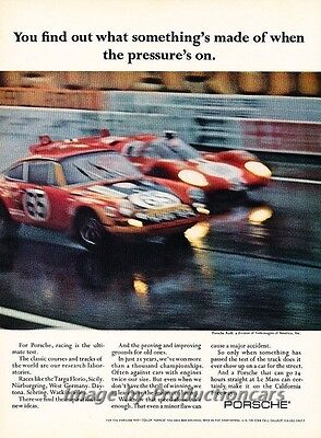 1971 Porsche 911 Targa Florio Race Original Advertisement Print Art Car Ad J811