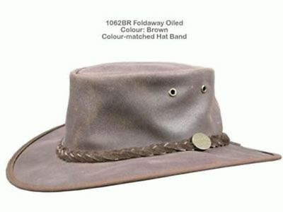 Barmah Foldaway Oiled Leather Hat - Brown