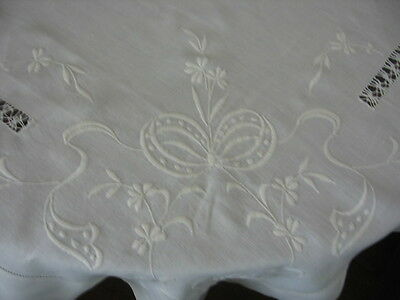 Vintage Linen Tablecloth White  Hand Embroidered  Raised Bows,scrolls, & Flowers