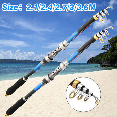 Protable Telescopic Sea Saltwater Fishing Rods Carbon Fiber Spinning Reel Pole