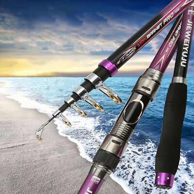 Protable Telescopic Sea Saltwater Carbon Fiber Fishing Rods Spinning Reel Pole