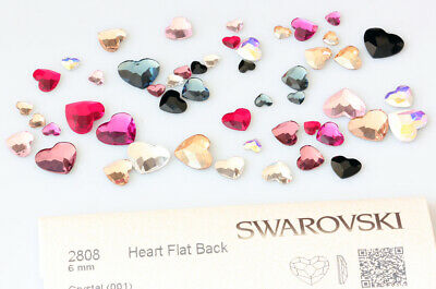 Genuine SWAROVSKI 2808 Heart Flat Backs No Hotfix Crystals * Many Colors