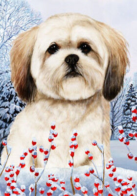 Large Indoor/Outdoor Winter Flag - Lhasa Apso 15040
