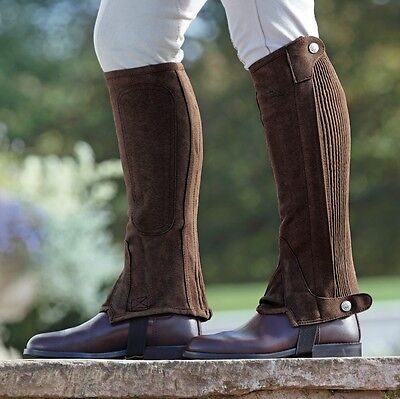 Shires Childs Amara Suede Half Chaps Horse Riding, Washable Brown or Black