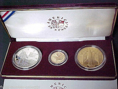Proof 1988-P America In Space Gold and Silver Set with Box and COA 3 Medal Set