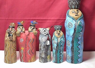 Judy Peele Pottery Sculpture Native American Tribal People Blanket signed/number