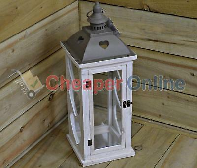 Premier Wooden & Metal Candle Lantern With Heart Shaped Cut Outs