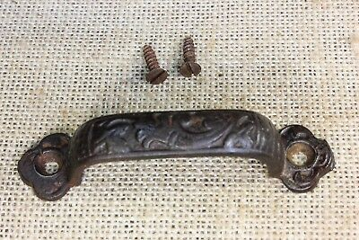"old Drawer door Pull handle rustic hardware store 4"" fancy iron vintage screws"