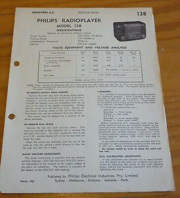 original Service Data for Philips Mantel Bakelite Radio Model 138 1953