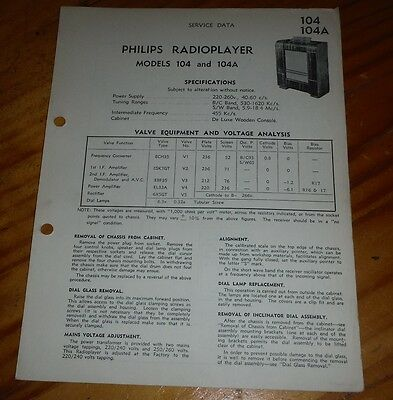 original Service Data for Philips radioplayer Model 104 & 104A  ( vintage radio