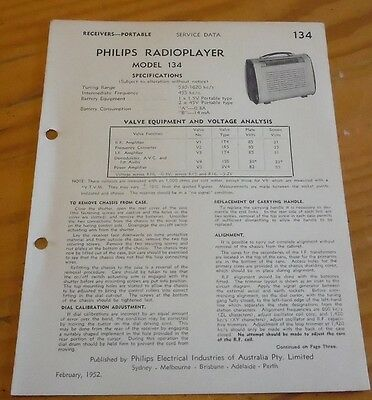 original Service Data for Philips portable Valve Radio Model 134 ( Feb 1952 )