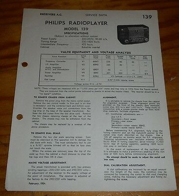 original Service Data for Philips Mantel Bakelite Radio Model 139 1954