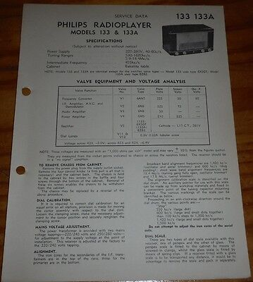 original Service Data for Philips radioplayer Model 133 & 133A  bakelite radio