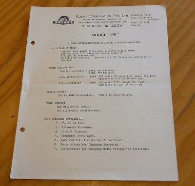Astor  Portable Valve Radio Model PS Technical Bulletin 1952