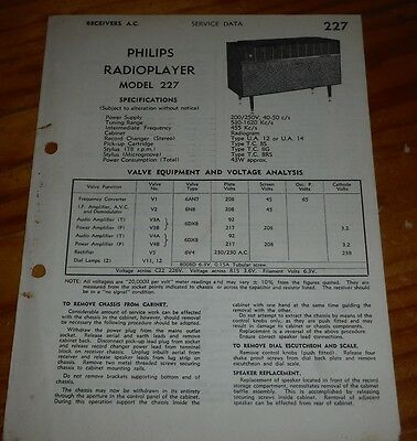 Service Data for Philips radiogram model 227 radioplayer record player brochure