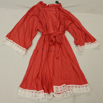 PinkBlush Women's Lace Trim Delivery/Nursing Maternity Robe Coral CB4 Large NWT