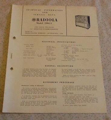 Technical & Service Data Brochure AWA Radiola Model 550-GA record player radio
