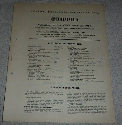 Technical & Service Data Brochure AWA car radios model 90-A and 901-A radiola