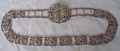 STRIKING VICTORIAN c1900 STERLING / SOLID BELT BUCKLE AND CHAIN - 72 CMS!