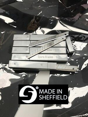 100x9mm Snap Off Blades,Stainless Steel,Window tinting,Detailing.Made in UK