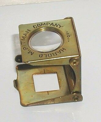 Harold M. Pitman Company Magnifier Printer's Brass Metal Loupe Made In Germany
