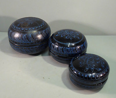 Vintage Burmese Lacquer Nest of three Betel Boxes - Etched Design