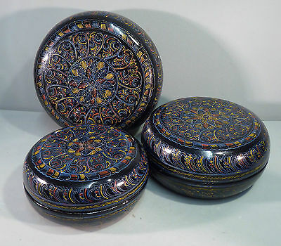 Vintage Burmese Lacquer Nest of three Betel Boxes - Etched Floral Design