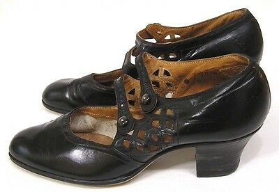 Vintage Pair Womens Shoes Archmedic 1930s Blk Leather Openwork