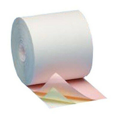 "3Ply 3-1/4"" CARPONLESS Printer Paper 12 Rolls WHITE-CANARY-PINK"