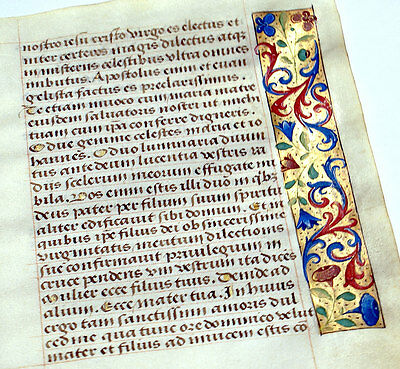 GOLD & FLORAL MEDIEVAL MANUSCRIPT BOOK OF HOURS LEAF c. 1470,  O INTEMERATA