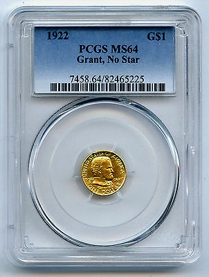 1922 Gold $1 Grant No Star Commemorative Dollar PCGS MS 64 Nice Gold Mint Lustre