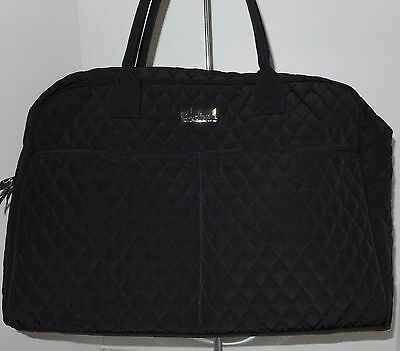 Vera Bradley WEEKENDER CARRY ON Classic Black Microfiber Quilted NWT